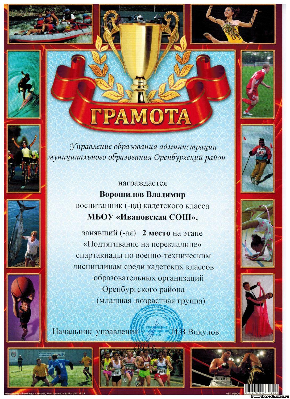 Поздравления за участие в соревнованиях